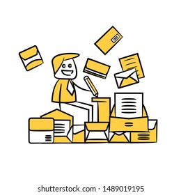businessman working among pile of documents yellow stick figure design
