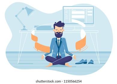 Businessman in working balance of zen