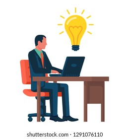 Businessman working behind a laptop comes to a good idea. New creative idea. Problem solution metaphor. Vector illustration flat design. Isolated on white background. Thinking processes.