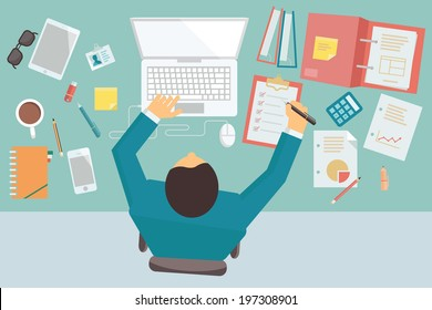 Businessman working and busy on his desk with laptop and office equipment, in style of trendy flat design.