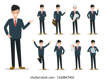 Businessman working character set vector design. Cartoon animated character.