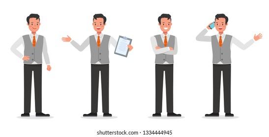 Businessman working character vector design
