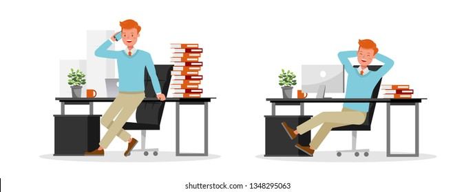 Businessman working character vector design