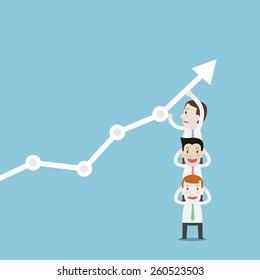 Businessman working chart go up - Vector