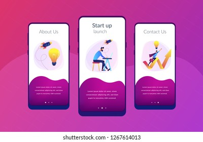 Businessman working and flying like superhero with briefcase. Start up launch, start up venture and entrepreneurship concept on white background. Mobile UI UX GUI template, app interface wireframe