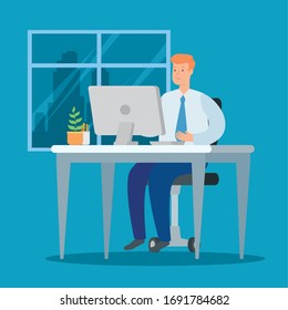 businessman working at home with computer in desk vector illustration design