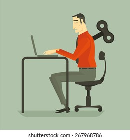 Businessman working a laptop keyboard with wind up key boring job. Vector, Illustration.