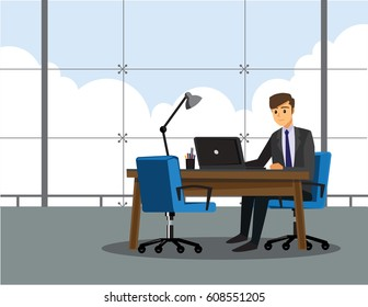 businessman is working with laptop in office ,Vector illustration cartoon character