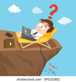 Businessman working with laptop on the edge of cliff dangerous concept, vector  illustration