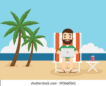 Businessman working on the beach with a laptop, remote working concept flat design, vector illustration