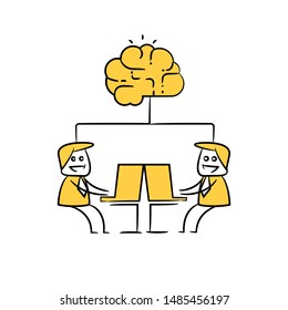 businessman working on computer and brain artificial intelligence concept icon yellow stick figure