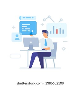 Businessman working on computer in the office icon, illustration. User interface, social media.Flat illustration Icons infographics. Landing page site print poster. Eps vector.