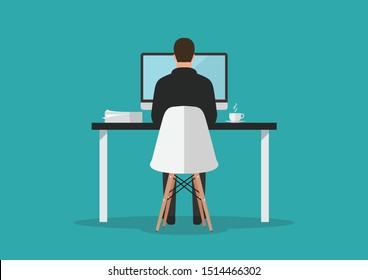 Businessman working on computer in office. Vector illustration