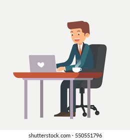 businessman is working on the desk with laptop cartoon vector