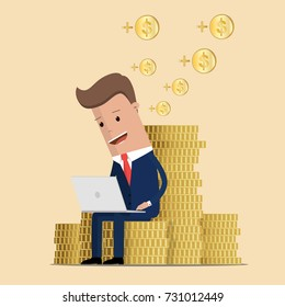 Businessman working on his laptop and earning money. Businessman earning money from online business. Online business concept.  Vector illustration