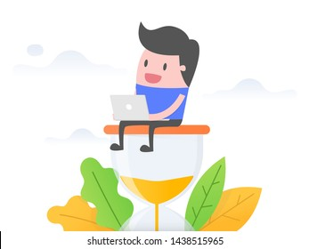 Businessman working on hourglass. Business concept vector illustration.