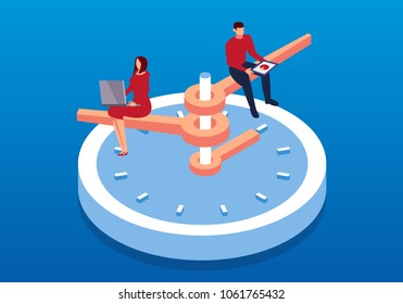 Businessman working on isometric clock