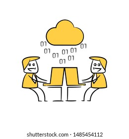 businessman working on laptop and cloud computing icon yellow stick figure