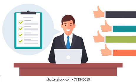 Businessman working on the laptop with many thumps up feedback from the customers or team concepts. filled the green check list sign on the clipboard with Speech bubble. vector illustration