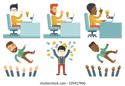 Businessman working on laptop in office and idea bulb coming out of laptop. Businessman got business idea. Creative idea concept. Set of vector flat design illustrations isolated on white background.