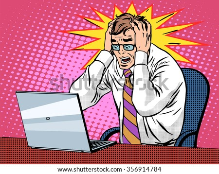 Businessman working on laptop pop art retro style. Bad news panic is a financial failure. Computers and office work. Man and modern technology