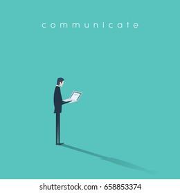 Businessman working on laptop vector illustration. Business symbol of modern digital communication. Eps10 vector illustration.