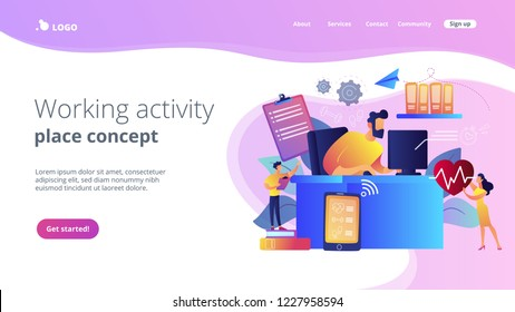 Businessman working at smart desk controlling his heart rate and position change. IOT office desk, health tracking, working activity place concept. Website vibrant violet landing web page template.