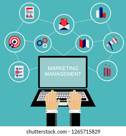 Businessman working they are using laptop. Marketing management. Flat vector concept.