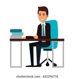 businessman in workplace avatar character icon