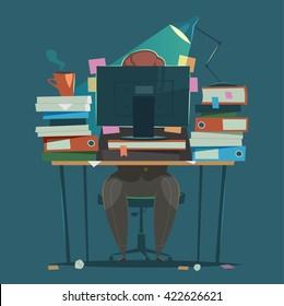 Businessman works hard at an office. Vector illustration.