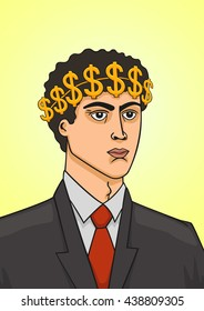 Businessman with a wreath of dollars.