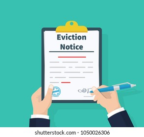 Businessman write legal documents. Clipboard in hands. Eviction Notice Form. Concept of human resources management. Vector illustration flat design. Isolated on green background