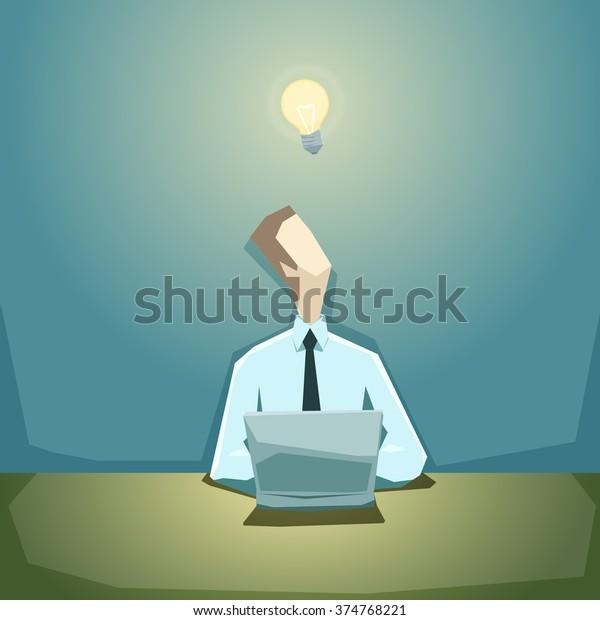 Businessman escribe un plan de negocios en la computadora y espera una buena idea