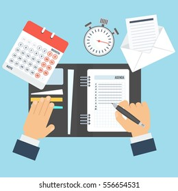Businessman writes a daily routine. Schedule and planning in management and administration. Flat vector cartoon illustration. Objects isolated on a white background.