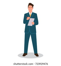 A businessman writes a pen on paper with a report (report, strategic planning, business plan). Vector illustration.