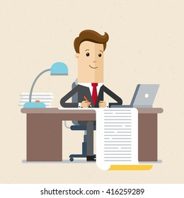 Businessman writing a business plan, tax letter, financial report. A man sits, table with a sheet of paper. Flat style illustration, vector, EPS10.