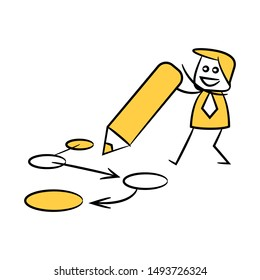 businessman writing diagram for strategy plan concept yellow stick figure design