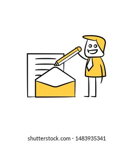businessman writing document and mail stick figure theme