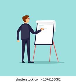Businessman writing on paper plan. Training, supervisor. Flat design vector illustration.