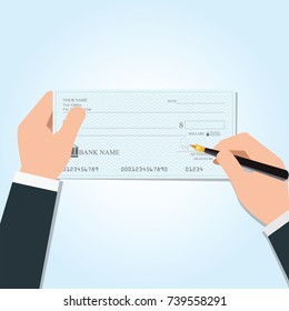 Businessman writing a payment bank checks or che-que book on colored on desk, vector illustration.