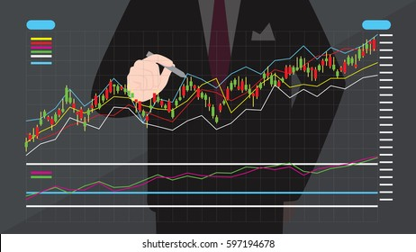 Businessman writing the trading graph of stock market on the virtual screen.