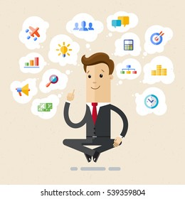 Businessman - Yogi sitting in lotus position, choose and press virtual icons. Set of office and business flat icons. Vector, illustration