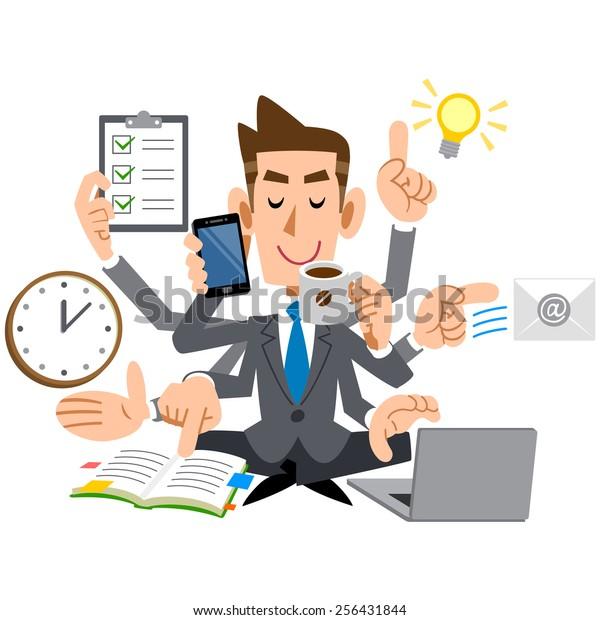 Businessman young, multitasking