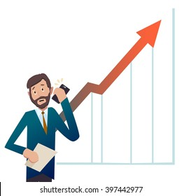 Businessman.Businessman receives good news over the phone.The profit more and more. vector.