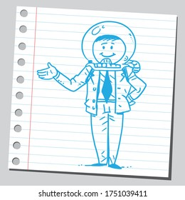 Businessmann with astronaut's protective helmet.
