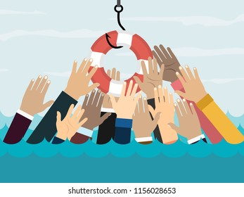 Businessmans getting lifebuoy, deception, a trap on the hook and hands stretching for help.Fishing hook with life buoy. illustration in flat style