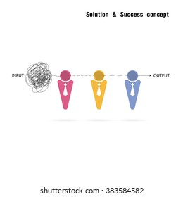 Businessmans with group problem solving and teamwork idea concept.Solution and teamwork idea.Capability and partnership concept.Business and education idea.Vector illustration