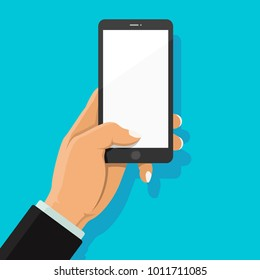Businessman's hand holding smartphone and finger touch on blank white screen on blue background with shadow. Phone on hand. Human using mobile phone. Vector illustration flat cartoon design concept.