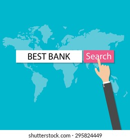 businessmans hand pressing internet browser red search button best bank, vector