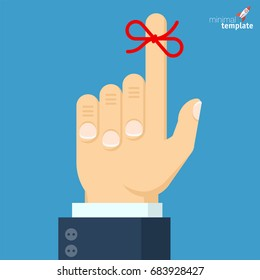 Businessman's hand with red bow remainder string on forefinger. Vector icon concept of template for calendar, appointment, timing, planning, event, memo, total recall, memorize.